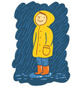Rainy day smiling kid in raincoat stands in the rain Stock Photography