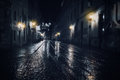 Rainy night in old european city Stock Image