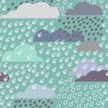 Rainy seamless pattern with clouds vector Royalty Free Stock Photos