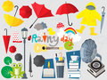 Rainy season design element set Royalty Free Stock Photo