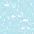 Rainy season elements seamless pattern Stock Photo
