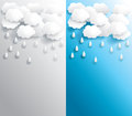 Rainy weather banner in various background paper create by vector Royalty Free Stock Images