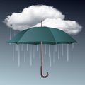 Rainy weather icon with clouds and umbrella vector illustration Stock Photo