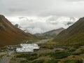 Rainy weather on way to Muktinath from Thorong La Pass, Nepal Royalty Free Stock Photo