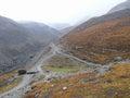 Rainy weather on way to Thorong La Pass from Muktinath, Nepal Royalty Free Stock Photo