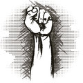 The raised fist illustration with drawn in vintage charcoal chalk sketch style Royalty Free Stock Photos