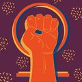 Raised fist with venus symbol. Feministic vintage art. Protest against sexism and misogyny. Flat style vector illustration