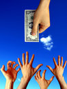 Raised hands trying to reach one dollar Royalty Free Stock Photos