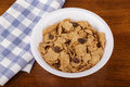 Raisin Bran Cereal in White Bowl Royalty Free Stock Photo