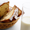 Raisin cake and milk Royalty Free Stock Photo