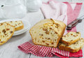 Raisin cake with sliced on the wooden table Royalty Free Stock Image