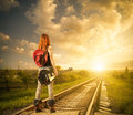 Raiway to horizon Royalty Free Stock Photo