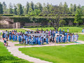 Raj ghat delhi new march tourists and pilgrims visiting memorial to mahatma ghandi on march in new Royalty Free Stock Images