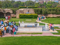 Raj ghat memorial to mahatma ghandi new delhi march tourists and pilgrims visiting on march in new delhi Royalty Free Stock Photos
