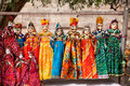 Rajasthan puppets colorful hanging in the shop of jodhpur city palace india Royalty Free Stock Photos