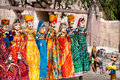 Rajasthan puppets souvenir hanging in the shop of jodhpur city palace india Stock Photos