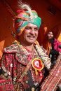 Rajasthani villager with colorful traditional dress unidentified attends a cultural procession for desert festival held on Stock Photos