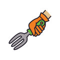 Rake hand garden gardening tool icon. Vector graphic Royalty Free Stock Photo