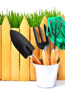 Rake shovel rubber gloves pot against the fence in wooden isolated on white Royalty Free Stock Images