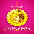 Rakhi pooja thali for raksha bandhan vector illustration of Stock Photo