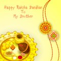Rakhi pooja thali for raksha bandhan vector illustration of Royalty Free Stock Photo