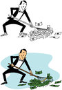 Raking in the dough a cartoon of a man literally money Royalty Free Stock Photos