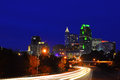 Raleigh after dark traffic leaving north carolina on new years day Royalty Free Stock Photo