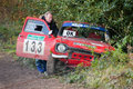 Rally car crash Stock Photo