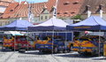 Rally cars in the city centre sibiu romania july sibiu romania fia erc all teams have their team and car presentation grand square Stock Photo