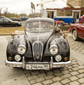 Rally of classical cars moscow april on poklonnaya hill april in town russia jaguar made in england Royalty Free Stock Photography