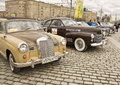 Rally of classical cars moscow april retro mercedes and bentley on on poklonnaya hill april in town russia Royalty Free Stock Image