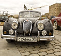 Rally of classical cars moscow jaguar april on poklonnaya hill april in town russia made in england Stock Photos