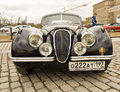 Rally of classical cars moscow jaguar on poklonnaya hill april in town russia Stock Photo