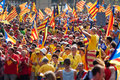 Rally demanding independence for catalonia barcelona spain september national day of Royalty Free Stock Photos