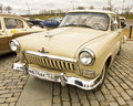 Rally of old cars in moscow april classical on poklonnaya hill april town russia volga gas russia Stock Photography