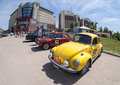 Rally of retro cars samara russia june peking paris june in samara russia volkswagen beetle year Royalty Free Stock Images