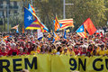 Rally in th anniversary of loss of independence of catalonia barcelona spain september national day barcelona Stock Photo
