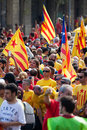 Rally to th anniversary of loss of independence of catalonia barcelona spain september national day in barcelona Stock Image