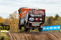 Rally truck of martin van den brink that he is going to use for the dakar Royalty Free Stock Photos