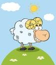 Ram Cartoon Mascot Character On A Hill Royalty Free Stock Photo