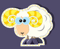 Ram cartoon with yellow horns Royalty Free Stock Photo