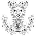 Ram with floral frame wreathe vector zentangle ram head illust illustration goat print for adult anti stress coloring page hand Stock Photos