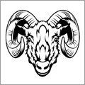 Ram head logo or icon in black and white.