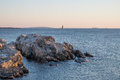 Ram island ledge lighthouse at sunrise at the north entrance to portland outer harbor maine Stock Photo