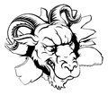 Ram mascot breaking through wall Royalty Free Stock Photo