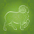 Ram outline on a green background sheep is a symbol of year Royalty Free Stock Photo