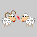 A ram presenting a sheep a flower funny cartoon i illustration vector art Stock Photography