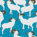 Ram wonderful life seamless pattern illustration group star blue background Royalty Free Stock Photos