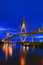 Rama bridge in the evening king bhumibol or also called ndustrial ring road Stock Photography