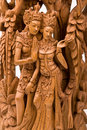 Rama and his wife Sita wood carving Stock Images